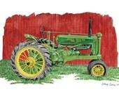 Old Johnnie - John Deere Tractor, Art print, Watercolor Painting, John Deere wall art, Christmas gift ideas