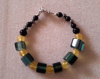 Granite cane glass bracelet