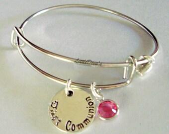 GIRLS First Communion Charm Adjustable Bangle W/ Swarovski Birthstone Crystal Drop w/ A Silver Tone Heart - Religion FC1
