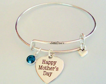 MOTHER'S DAY Adjustable  Bangle W/ Birthstone Crystal Drop w/ A Silver Tone Heart  / Gift For Her- Under 20 - Usa  F1