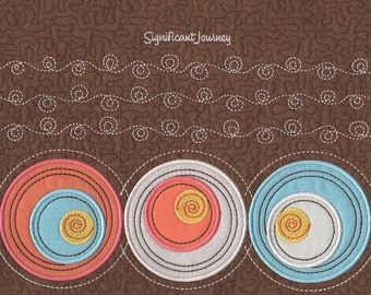 Circles and Swirls Machine Embroidery Applique Design for Handbags