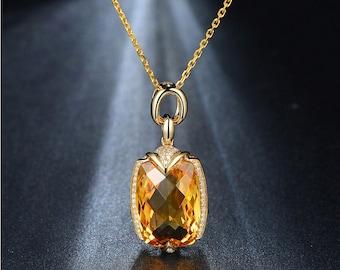 Citrine diamond pendant,Citrine statement necklace,gemstone pendant,diamond pendant,14K yellow gold pendant no chain