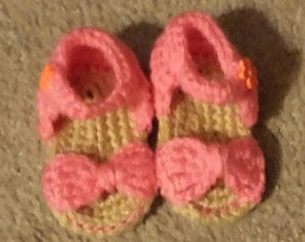 Bow Sandals; 0-3 months