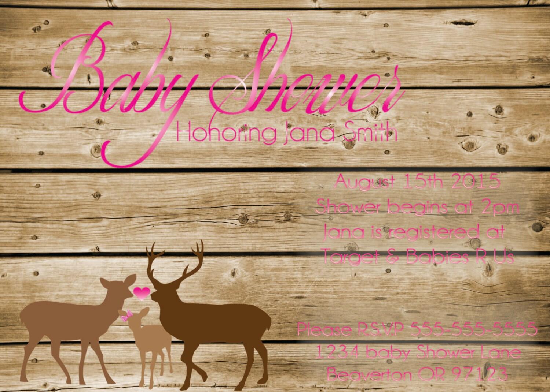 pink deer baby shower invitation hunting by enortondesign on etsy