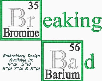 Breaking Bad Element Periodic Table Embroidery Design