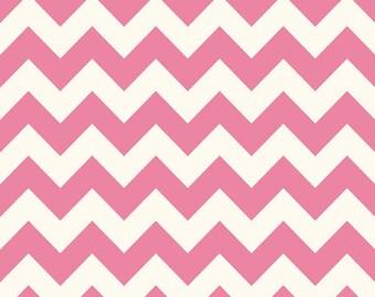 Fabric, Pink on Creme Medium Chevron Fabric by Riley Blake, Sale Fabric, Clearance