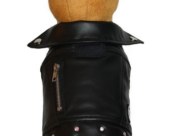 Faux Leather Dog Jacket-GLAM MOTO