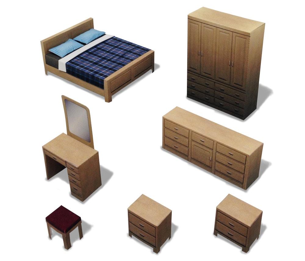 Bedroom 001 ifunwoo dollhouse paper model for Bedroom paper