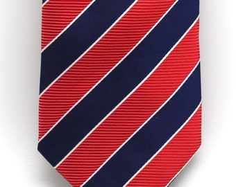 Mens Red and Blue Striped Silk Tie
