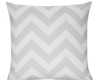 ZIGGY Grey white Chevron Zig Zag Stripe Cushion Pillow Cover 45cm x 45cm