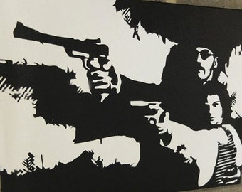 LEON. Film scene Stencil spray paint original Wall art 30cm x 40cm canvas.