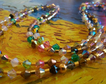 """Necklace gold plated swarovski crystal """"multicolored"""" crystal necklace."""