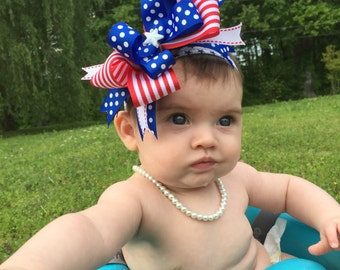 Girls 4th of July patriotic photo prop bow