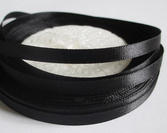 23 m satin Black 6mm Ribbon coil