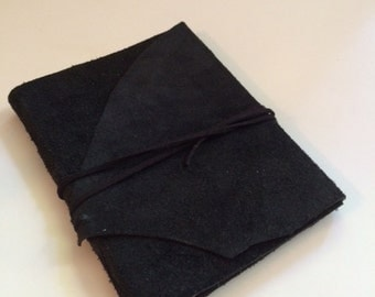 Suede Journal with Black Wrap Cord Closure