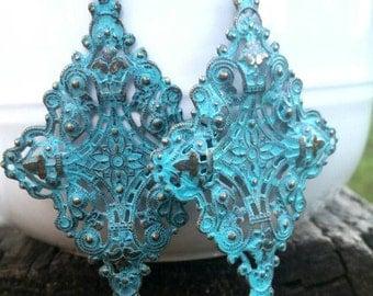 Turquoise Brass Earrings, Handmade Earrings, Dangle Earrings, Turquoise Earrings, Long Earrings, Lightweight Earrings, Victorian Earrings
