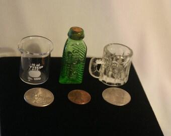 Vintage Glass Miniatures Sample 3-IN-ONE-OIL Beer Mug Japan 10ml Pyrex No.1000 Laboratory
