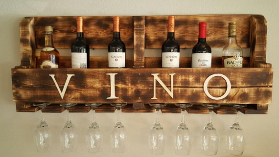 Items similar to support de vin rustique r g n r e - Support bouteille vin mural ...