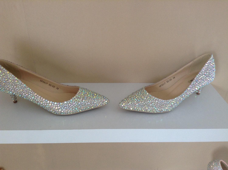 Wedding Kitten Heels: Low Heel Wedding Shoes Crystal Kitten Heel By