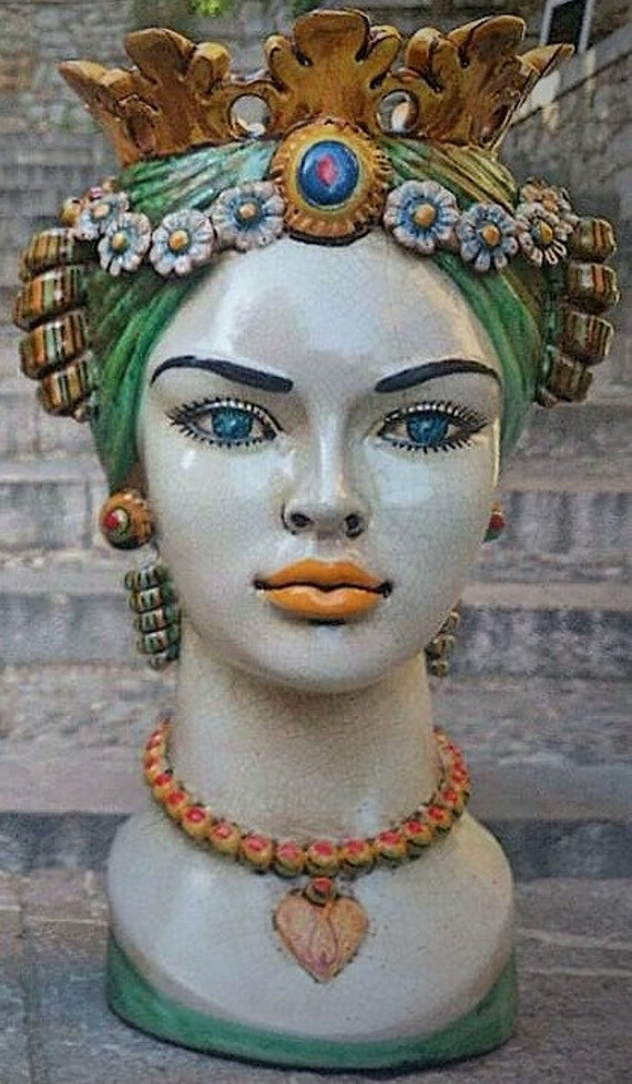 Italian Ceramic Head Planter Plant Pot Face Planter
