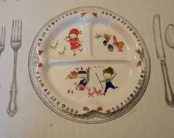 Trio of Shin-San Melamine Children's Divided Plates from Peco