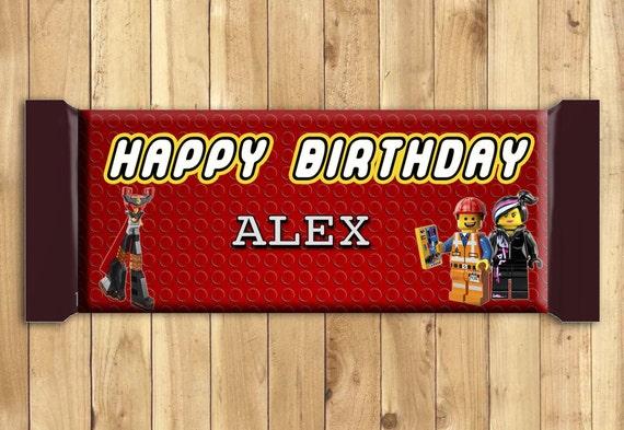 Lego Movie Happy Birthday 1.5 oz Candy Bar Wrapper Fully Customizable