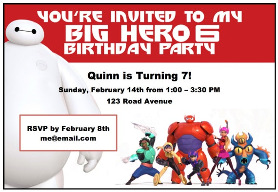 Big Hero 6 Birthday Party Invitations - Instant Download, customizable and printable