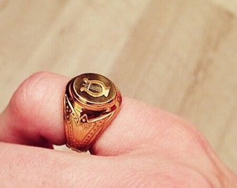 Gold Signet Ring is silver plated hand engraved lyre, french jewelry unique