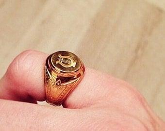 Chevalière fait main argent plaqué or gravé lyre, bijoux français unique