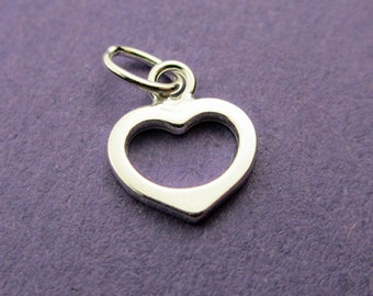 New 8mm x 7mm 925 Sterling Silver Open Heart Pendant Charm 1pc