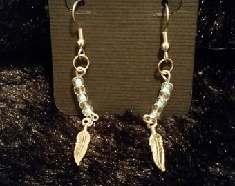 Turquoise and Crystal Feather Earrings