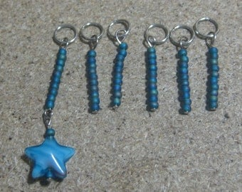 Small Blue Knitting stitch markers-glass stitch markers-beaded stitch markers-stitch markers knitting-stitch counter-gift for knitters