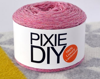 Felting Yarn - Heathered Pink  - 2 Ply 2/17nm for Hand & Machine Knitting, Crochet and Crafting