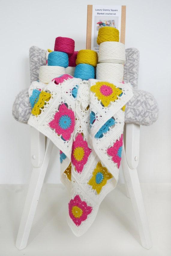 Knitting Diy Kits : Granny square blanket kit crochet