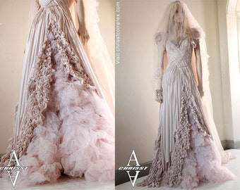 Gothic Wedding Dress Red Carpet Bride Prom Formal Dress Fashion Fantasy CHRISST