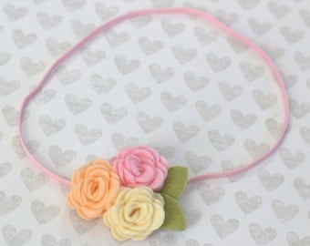 Peach Felt Headband or Hair Clip Rolled Rose Trio in Peach Pink & Cream