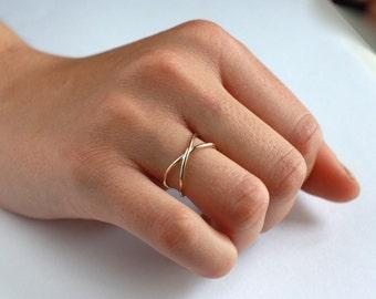 Stacking rings - Tiny ring - Simple ring - Thin ring - Cross ring - minimal ring - minimal jewelry -  Dainty ring