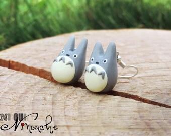 Earrings grey totoro (fimo) geek manga Miyazaki Ghibli