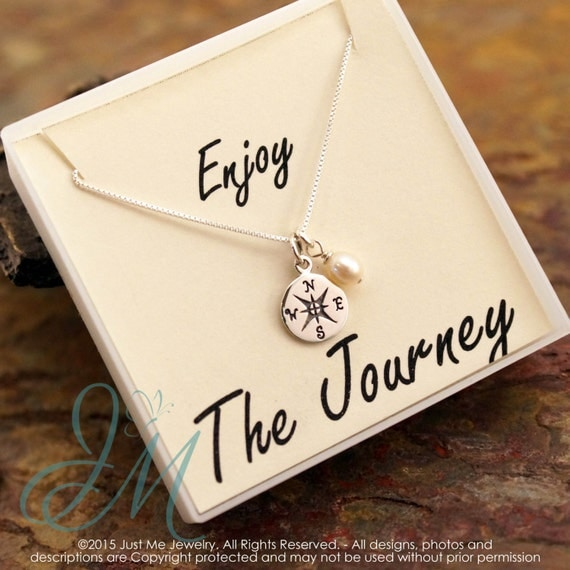 Graduation Necklace with fresh water pearl - Compass Sterling Silver Necklace - Enjoy the Journey