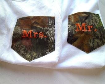 Wedding, Camo T shirt,  White Camo Mossy Oak  (2)  Monogram, Embroidery Pocket  MR & MRS Engagment Wedding, Custom Wording, Honeymoon shirts