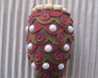 Christmas Ornament Felt Pinecone Pine Cone Faux Pearls Buttons  #50