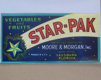 5 Labels 1940s Vintage Paper Fruit Crate Label Starpak Florida