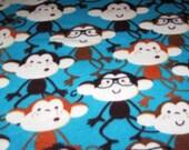Dancing monkey fleece baby blanket