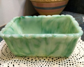 Akro Agate Slag Glass Green Planter 1940 Era