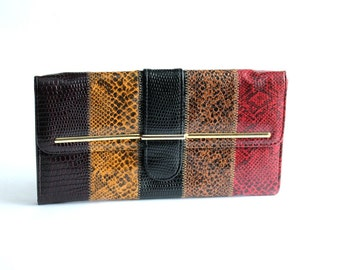 multicolor clutch . striped clutch with optional chain strap . fake reptile skin purse . vintage vinyl clutch