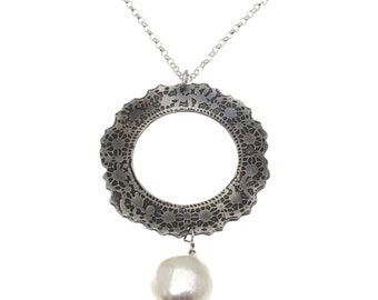 Etched Silver and White Baroque Freshwater Pearl Doily Pendant and Chain.