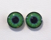 16mm Green Flat Backed Glass Eyes - 1 pair - item #4C