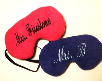 Set of 2 - Monogrammed Sleep Masks -  Reversible  - Choose All