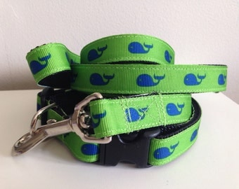 Medium 5/8 inch Green With Blue Whales Nautical Leash and Collar Set
