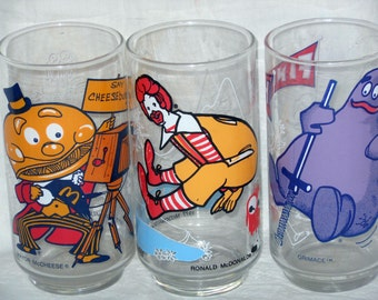 Ronald McDonald Promotional Glasses Vintage Set Of Three 1977 Mint Condition Collectible Lot A